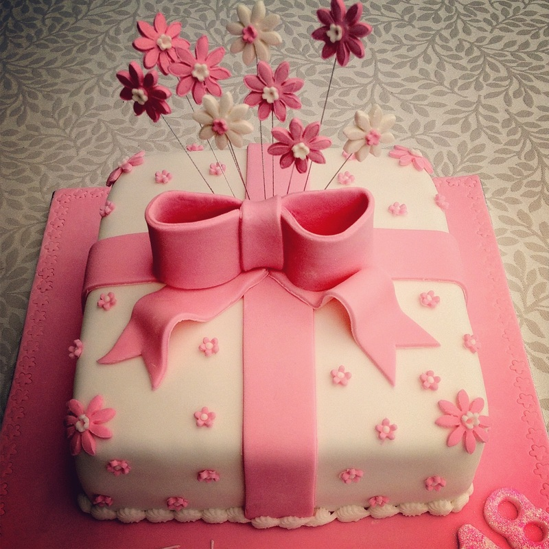 Picture Bows And Flowers 18th Birthday Cake